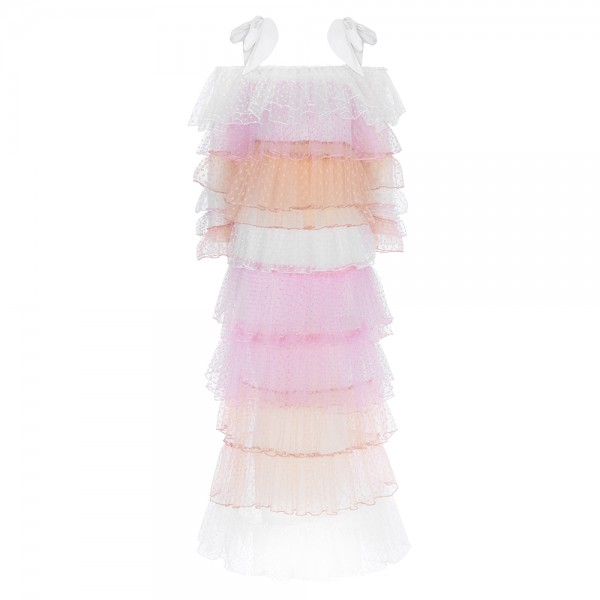 Tulle Ruffles Maxi Dress